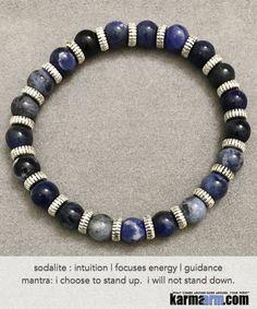 Yoga Beaded Bracelets. Blue Sodalite.Men's Women. Law of Attraction. LOA. Healing Energy Prayer Mantra Spiritual Mala.