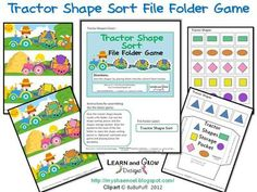 """Farm+Tractor+Shape+Sort+File+Folder+Game+from+LearnandGrowDesigns+on+TeachersNotebook.com+-++(6+pages)++-+""""Tractor+Shape+Sort+File+Folder+Game""""+created+by+Learn+and+Grow+Designs.+Skills+Taught: shape+recognition,+fine+motor+practice,+spatial+reasoning File Folder Labels, Shape Sort, Shape Games, Busy Boxes, Letter Of The Week, Folder Games, Farm Theme, Teaching Materials"""