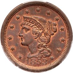 1853 N-10 R1 Repunched 18 PCGS graded MS66 Red & Brown, CAC Approved Lustrous bluish steel and olive brown with 25% of the original mint color remaining. This cent offers great eye appeal and it is nearly flawless. The only defects, and they are trivial, are a few barely visible specks of darker steel toning on both sides, a very shallow low spot on the neck (caused by debris on the die), and a light nick in the field just right of the main curl. MDS, die state b. The delicate repunching on…