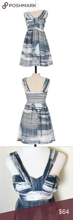 Sine Stormy Seascape dress Silk and cotton blend dress in beautiful blues and grays on white. Fully lined. Excellent condition. Anthropologie Dresses