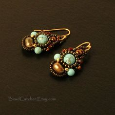 Turquoise beadwoven earrings by BeadCatcher on Etsy, $32.00