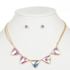 Iridescent AB Triangles Gold Necklace and Earrings Set