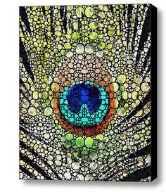 Peacock Feather Art Print from Painting by BuyArtSharonCummings