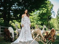 ✨Our magnificent friends at @lovelybride have the first editorial shoot with our Love Spell gowns  we are speechless - the shoot is so dreamy and magical  We are in love Please head over to http://greenweddingshoes.com/exclusive-first-look-at-the-rue-de-seine-2017-collection/ to see Lovely's lookbook featuring our gowns taken at this glorious Alpaca Farm!  (look at his lil photobombing face!) shot by @chazcruz @lovelybride, we ❤️ you XXXX #ruedeseine #lovelybride #lovespell #beaugown