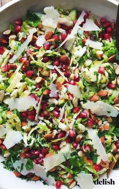Brussels Sprouts Salad This easy-to-make salad is the perfect holiday side. Get the recipe at .This easy-to-make salad is the perfect holiday side. Get the recipe at . Healthy Cooking, Healthy Eating, Cooking Recipes, Cooking Bacon, Game Recipes, Healthy Meals, Healthy Salad Recipes, Vegetarian Recipes, Pomegranate Recipes Healthy