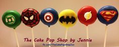 Super Hero Green Lantern, Spiderman, Captian America, Batman, Flash and Superman cake pops www.facebook.com/TheCakePopShpJax