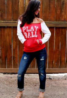 Play Ball.  No-Shoulder FD Perfect Baseball Sweatshirt.  Sizes S-XL.