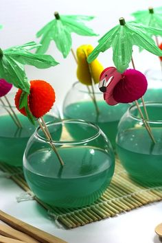 Using this idea as inspiration not for a cocktail, as originally suggested, but as a dessert -- doing this with Jello would make very cool desserts with a lot of potential theme variations!