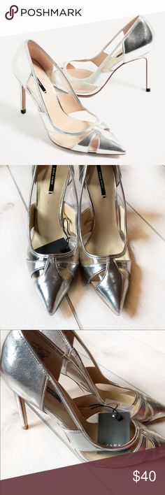 """NWT - Mod Silver Metallic Cut out Zara Stilettos NWT - Mod Silver Metallic Cut out Zara Stilettos   -Never worn. Tags still attached but this pair has some very minor wear from sitting in my shoe bin (as pictured)  - Size 8  - 4"""" Heel - comes with stiletto cap replacements - silver and clear  * Bundle with any of my other NWT Zara heels for a better deal! Zara Shoes"""