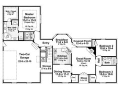 1600 square foot ranch home plans | First Floor Plan of Country European Traditional House Plan 59158