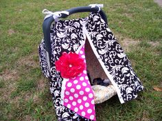 READY to SHIP--3 in 1 Car Seat Canopy, Nursing Cover, and Blanket with FREE Peony Flower Clip. $29.99, via Etsy.