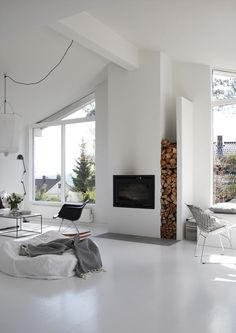White interior inspiration, how lovely and cozy does this look. Exactly what is needed in this cold weather! Home Fireplace, Fireplace Design, Renovate Fireplace, Wall Fireplaces, Fireplace Windows, Modern Fireplaces, Bedroom Fireplace, Living Room Interior, Living Room Decor