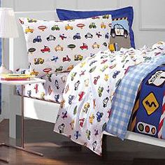 @Overstock - This five-piece twin-sized bed in a bag will add a fun design to your childs bedroom. Trucks and tractor enthusiasts will love the vehicle print. This perfectly coordinated set includes a comforter, flat sheet, sham, fitted sheet, and pillowcase.http://www.overstock.com/Bedding-Bath/Trucks-and-Tractors-5-piece-Twin-size-Bed-in-a-Bag-with-Sheet-Set/5324063/product.html?CID=214117 $64.99