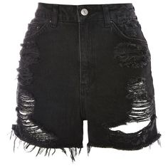 Topshop Tall Rip Longline Mom Shorts (335 NOK) ❤ liked on Polyvore featuring shorts, bottoms, topshop, washed black, denim shorts, cotton shorts, high waisted shorts, ripped shorts and high-waisted jean shorts