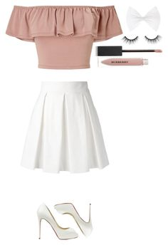 Untitled #381 by dutchfashionlover on Polyvore featuring polyvore fashion style Miss Selfridge Boutique Moschino Christian Louboutin Burberry tarte clothing nude