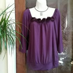 NWT Purple Misses Top / Blouse  Size M ? FINAL PRICE? New With Tag Purple color Top with roses finished at front, Boat neck style, 3/4 sleeve.  Loose fit.  ?SALE IS FINAL NO RETURN ? JKLA California  Tops Blouses