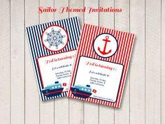 Invitaciones de fiesta de marinero, invitaciones personalizadas rojo y azul