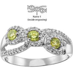 Brocade Mother's Ring 14kt White Gold with 3 simulated birthstones | Joy Jewelers