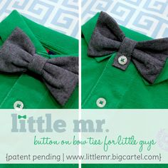 button-on bow ties for little boys.
