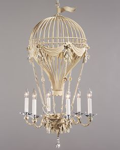 chandeliers - air balloon chandelier - air balloon chandelier in antique white and Swarovski crystal - #chandeliers