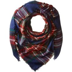 Steve Madden Classic Plaid Square Scarf (Navy) ($36) ❤ liked on Polyvore featuring accessories, scarves, tartan plaid scarves, navy shawl, tartan shawl, plaid shawl and wrap shawl