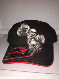 4f0e3bc2314 Disney Star Wars stormtrooper Velcroback with empire symbol on front in  black gray and red and empire symbol on the back curved brim