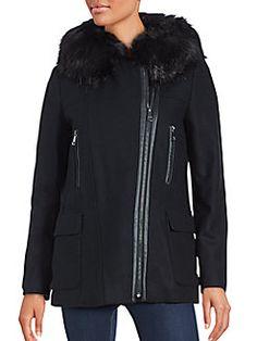 Calvin Klein - Wool-Blend & Faux Fur-Trimmed Coat