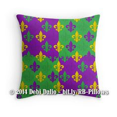 This festive throw pillow features a Mardi Gras themed design of purple, green, and gold fleur-de-lis (lily flower) symbols arranged in a repeating pattern over alternating purple and green blocks. http://www.redbubble.com/people/debidalio/works/12121560-mardi-gras-fleurs-de-lis?p=throw-pillow #homedecor #bedding #MardiGras #StudioDalio #Redbubble