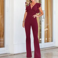 Solid Plunge Flutter Sleeve Scrunch Flared Jumpsuit Women's Best Online Shopping - Offering Huge Discounts on Dresses, Lingerie , Jumpsuits , Swimwear, Tops and More. Jumper Outfit Jumpsuits, Jumpsuit Outfit, Long Jumpsuits, Jumpsuits For Women, Evening Jumpsuits, Pant Jumpsuit, Jumpsuit With Sleeves, Strapless Jumpsuit, Womens Fashion