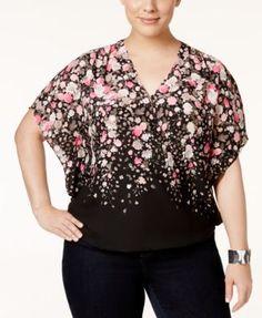 INC International Concepts Plus Size Floral-Print Surplice Top, Only at Macy's | macys.com