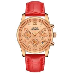 JEDIR 9821 4825 Fashion Casual Dial Calendar Leather Band Quartz Women... ($18) ❤ liked on Polyvore featuring jewelry, watches, rosegal, leather band watches, quartz jewelry, dial watches, leather wrist band watch and quartz wrist watch