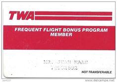 TWA - Frequent Flyer Bonus Program Member Card