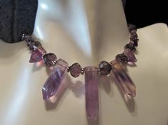 Purple Rainbow Fluorite, Amethyst Gemstone Chip and Crystal Necklace for sale.
