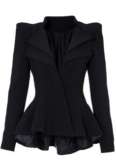 Double Lapel Fit-and-flare Blazer - Black Look like a celebrity by wearing this black double lapel fit and flare blazer! It has peplum hi-lo hem and double lapel detailing.