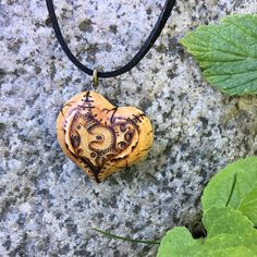 Steampunk carved heart pendant with pyrography / wood burning