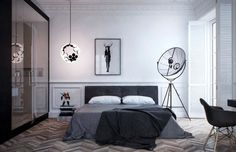 Home & Apartment, Amazing Apartment Bedroom Art With Fortuny Floor Lamp By Pallucco Also Mid Century Eames Grey DAW Chair Plus Chevron Wood Floor As Well As Funky Globe Hanging Lighting Bedside: Amazing Modern Apartment Design Collections