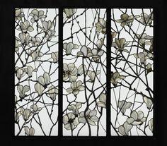 THREE WINDOW PANELS / c. 1885 / Magnolia / Leaded glass / Tiffany Glass Company