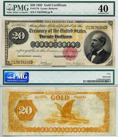 Gold Certificate Currency | 1882 $20 Gold Certificate FR-1178 PMG Graded EF40 S/N C13678266