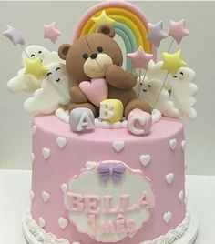 Let them eat cake Baby Cakes, Baby Shower Cakes, Baby Birthday Cakes, Birthday Kids, Teddy Bear Birthday Cake, Fondant Cakes, Cupcake Cakes, Rodjendanske Torte, Teddy Bear Cakes