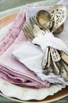 Lovely linens and silverware