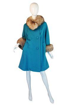1950s Lilli Ann Blue & Fox Fur Coat