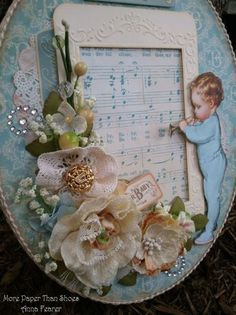 Little Darlings Altered Art - Graphic 45 vintage papers altered frame project.