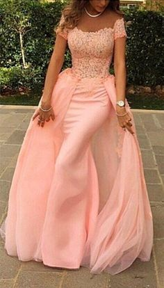 Pink Lace Short Sleeves Prom Dresses Off Shoulder with Removable Overskirt Train Evening Gowns,evening dresses, lace party dresses
