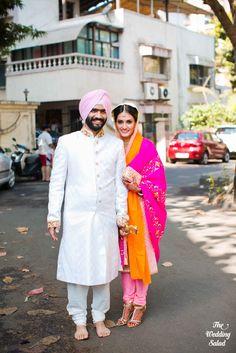 Indian Wedding Portrait | Sikh Wedding | Photo by The Wedding Salad Punjabi Couple, Punjabi Bride, Punjabi Wedding, Desi Wedding, Wedding Suits, Punjabi Suits, Indian Bridal Lehenga, Indian Bridal Fashion, Indian Groom Wear