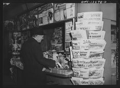 A New York newsstand on Forty-second Street & Sixth Avenue selling international papers - 1943