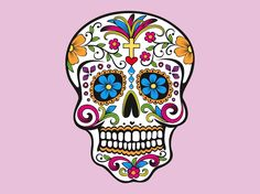 Sugar skull vector for the Day of the Dead. Dia de los Muertos skull for traditional Mexican holiday rituals. Download Illustrator sugar skull for all death, holiday, Mexican culture, respect for the dead and tradition design themes. Vector skull image decorated with flowers, hearts and a cross. Dia De Los Muertos Skull by Jacobg