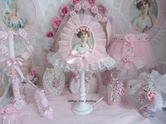 Your place to buy and sell all things handmade Shabby Chic Boxes, Shabby Chic Frames, Rose Cottage, Shabby Cottage, Powder Pink, Pink Silk, Lamp Shades, Portrait, Lady