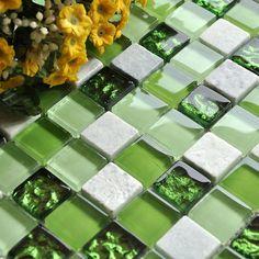 Cheap 3D de cristal Verde vidrio mezclado mosaico de mármol blanco de pared…