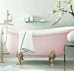 Vintage Pastel Pink Claw Footed Bathtub. ♡♥️♡♥️♡♥️