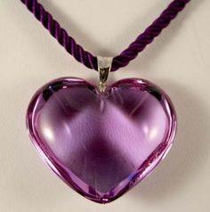 purple heart glass pendant